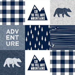 Adventure & You Will Move Mountains Quilt Top - Navy (bear)