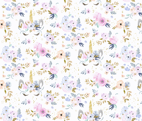 unicorn floral twilight-M fabric by crystal_walen on Spoonflower - custom fabric