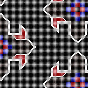 Beaded Star (Black with Red)