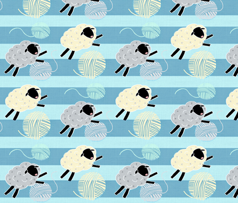 Wooly Sheep Yarn Jumpers / Blue  fabric by franbail on Spoonflower - custom fabric