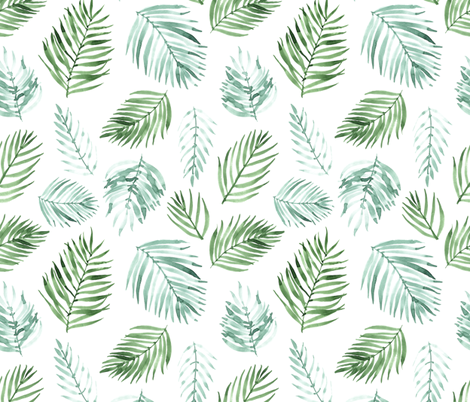 Watercolor Palm Leaves fabric by innamoreva on Spoonflower - custom fabric