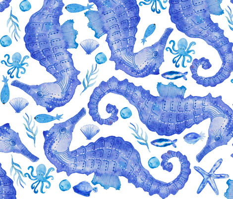 seahorse watercolor fabric by kimmygowland on Spoonflower - custom fabric