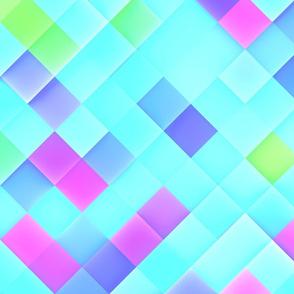 Blue Pink Pastel Tones Bright Squares
