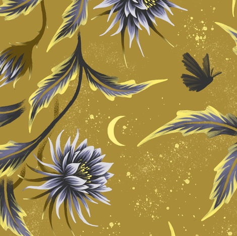 Queen of the Night - Gold - Andrea Muller fabric by andreaalice on Spoonflower - custom fabric