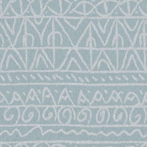 tribal light blue and tan linen