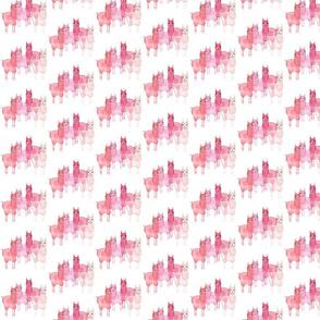 Watercolor Llamas in pinks