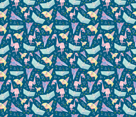 experimental origami bright blue fabric by mspikku on Spoonflower - custom fabric