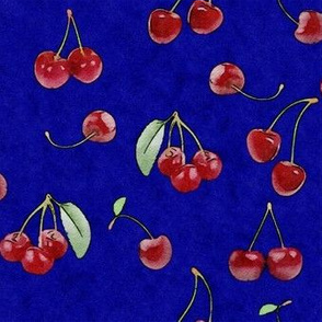 Watercolor cherries royal blue background