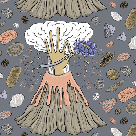 volcano with a hand, lotus flower and rocks, large scale fabric by amy_g on Spoonflower - custom fabric