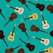 Aqua Guitar Print