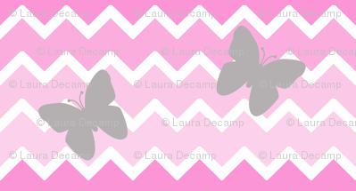 Pink Chevron Ombre  Gray Butterfly