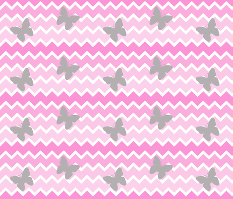Pink Chevron Ombre  Gray Butterfly  fabric by decamp_studios on Spoonflower - custom fabric