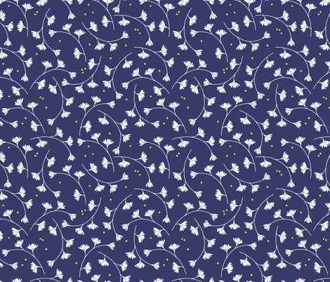 White flowers fabric by charlotte_lorge on Spoonflower - custom fabric