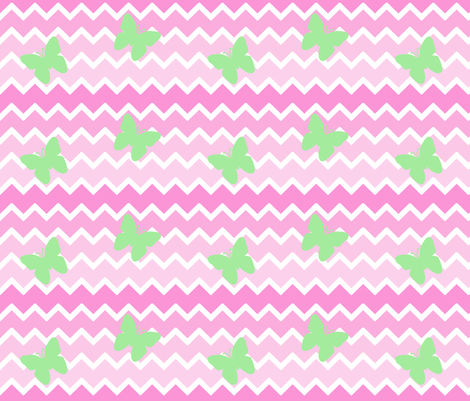 Pink Chevron Ombre Mint Green Butterfly fabric by decamp_studios on Spoonflower - custom fabric