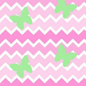 Pink Chevron Ombre Mint Green Butterfly