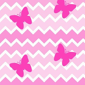 Pink Chevron Ombre Butterfly