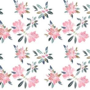 Watercolor Azaleas on white, small