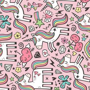 Unicorn & Hearts Rainbow  Love Valentine Doodle on Light Pink Large Rotated