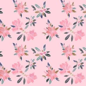 Watercolor Azaleas on Pink, Small