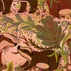 Woodland Badger Animal Forest Pattern