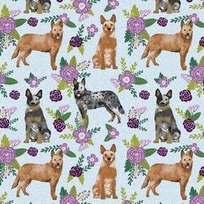 australian cattle dog (smaller scale) pet quilt c cheater quilt florals coordinate fabric