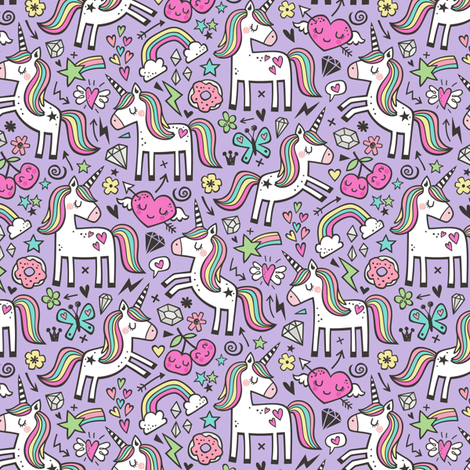Unicorn & Pink Hearts Rainbow  Love Valentine Doodle on Purple Purpel Smaller 2 inch fabric by caja_design on Spoonflower - custom fabric