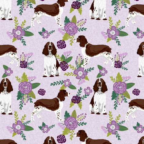 english springer spaniel pet quilt c collection coordinate floral fabric by petfriendly on Spoonflower - custom fabric