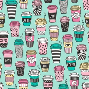 Coffee Latte Geometric Patterned Black & White Pink Mint Yellow on Mint Green Smaller 1,5-1,7 inch