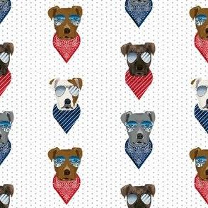 pitbull sunglasses summer bandana dog breed fabric white