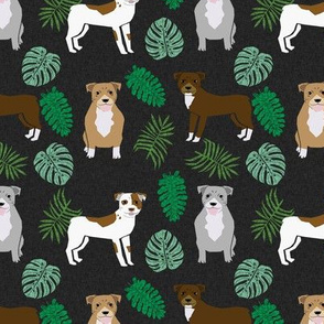 pitbull monstera tropical dog breed fabric