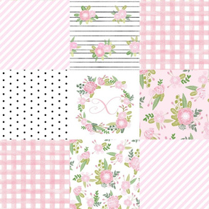 monogram quilt letter X girls pink nursery baby quilts
