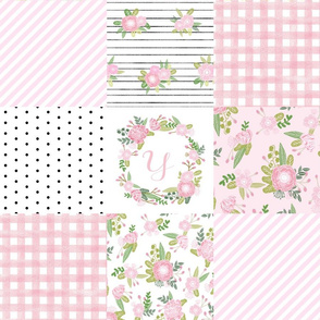 monogram quilt letter Y girls pink nursery baby quilts