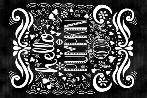 Hello Pumpkin Chalkboard Style fabric by thepeachtree on Spoonflower - custom fabric