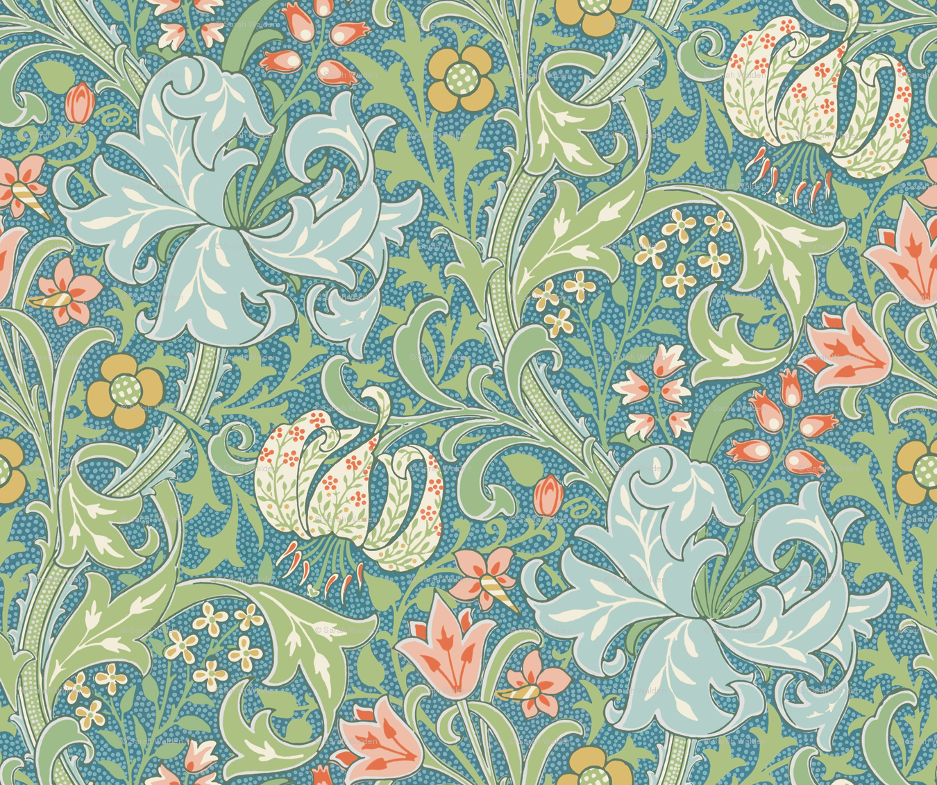 Removable Water Activated Wallpaper William Morris Golden