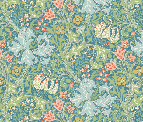Golden Lily ~ Original  ~ The William Morris Collection fabric by peacoquettedesigns on Spoonflower - custom fabric