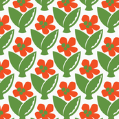 Floral Fiesta Poppy and Green-ed