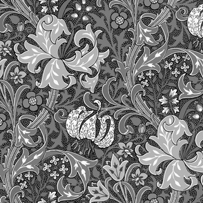 Golden Lily ~ Black and White Reverse ~ The William Morris Collection