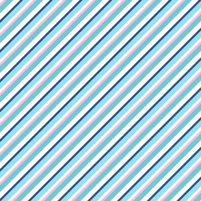 Sky Blue Strong Inclined Stripes