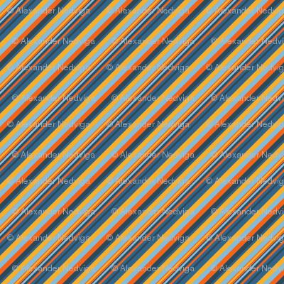 Indigo Orange Sky Blue Inclined Stripes