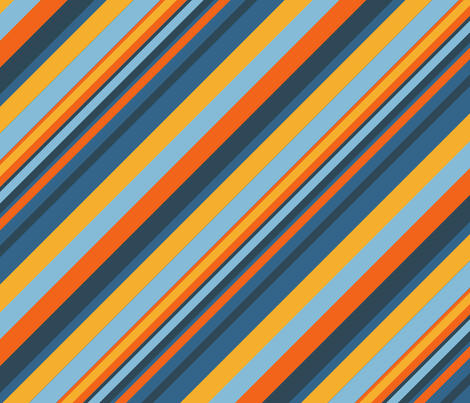 Indigo Orange Sky Blue Inclined Stripes fabric by sanches812 on Spoonflower - custom fabric