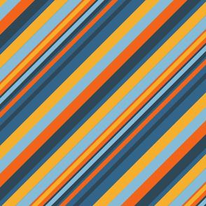 Indigo Orange Sky Blue Inclined Stripes
