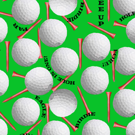 Golf Balls and Tees on Green fabric by lauriekentdesigns on Spoonflower - custom fabric