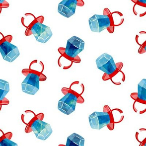 candy ring - blue on red - sweets