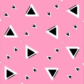 Black and white Triangles on Pink
