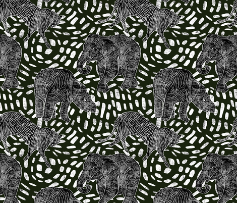 Endangered Species - Black and White fabric by scarlette_soleil on Spoonflower - custom fabric
