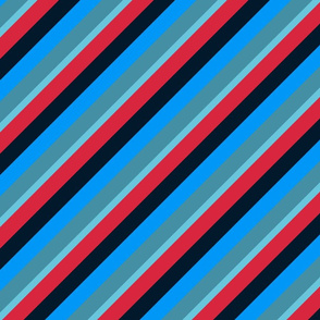Blue Red Inclined Stripes