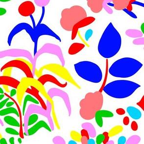 60's Fiesta Floral in Rainbow + White
