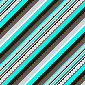 Blue Brown Black Inclined Stripes