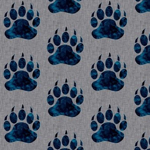 "2"" Bear Paws - Navy on grey linen"