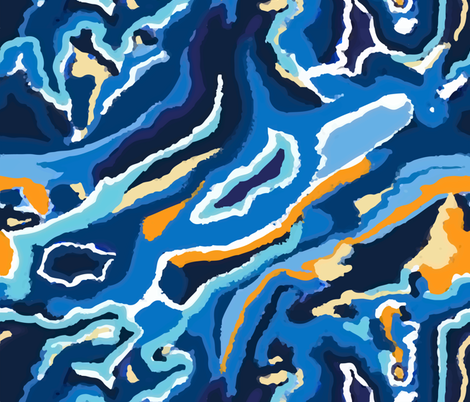 blue swirl fabric// stunning colours in free form swirl fabric by samantha_woodford on Spoonflower - custom fabric